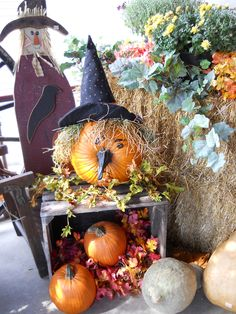 Fall decorations - love the witch look from a pumpkin