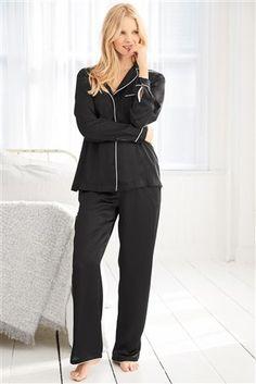 Buy Black Satin Pyjamas from the Next UK online shop