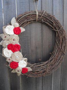 Burlap Wreath  ....pretty