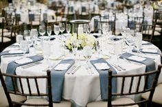 Love this classic grey and white table decor - Photo by Jennifer Bowen Photography | via junebugweddings.com