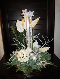 Kerststuk met anthuriums