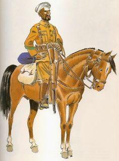 Grupo de Regulares de Ceuta Nº 3 1934 Cabo del Tabor de Caballería en campaña. Asturias Army Uniform, Military Uniforms, Mystery Of History, Civilization, 19th Century, Spanish, Empire, Horses, Barcelona