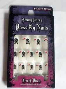 """Scream Queen Press On Nails French Pirate Goth Halloween Set by Fright Night. $0.01. Great for Halloween, parties and shocking everyday looks.. Assorted sizes, longest is 5/8"""". 22 decorated nails, adhesive tabs and nail glue. Sized for teens & adults. Brand new Easy to Apply Press On Nail Kit from Fright Night Cosmetics part of the Scream Queen Collection. Set includes 22 decorated nails, adhesive tabs and nail glue."""