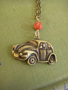 Items similar to VW Bug Car Necklace Love Bug Vintage Inspired Red Bead VW Bug Necklace Brass Chain on Etsy Beetle Bug, Vw Beetles, Vw Accessories, Bug Car, Love Bugs, Hippie Jewelry, My Dream Car, Volkswagen Bus, Vintage Inspired