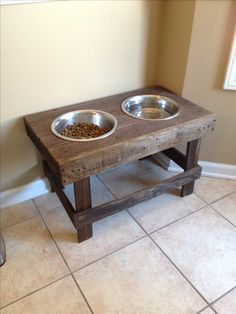 DIY Raised dog bowls/pet feeder | Pallet Project | made entirely from pallet wood. Dog bowls bought from Pet Smart (basic large stainless steel bowls). Stained in MiniWax Provincial. (Diy Furniture Baby)