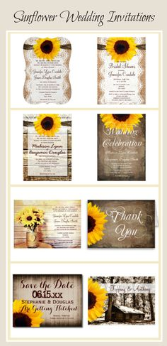 Sunflower Wedding Invitations for a country wedding.  See more Rustic Wedding Invitations at http://www.rusticcountryweddinginvitations.com/sunflowers.html