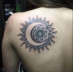 Creative Mandala Tattoo Designs you would fall in love . - Creative mandala tattoo designs that you would fall in love with - Moon Sun Tattoo, Sun Tattoos, Love Tattoos, Body Art Tattoos, Tattoos For Women, Sun Moon, Third Eye Tattoos, Sun And Moon Mandala, Woman Tattoos