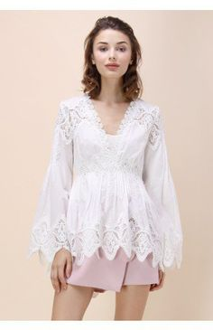 Lace Ventura V-neck Top with Bell Sleeves - Tops - Retro, Indie and Unique Fashion
