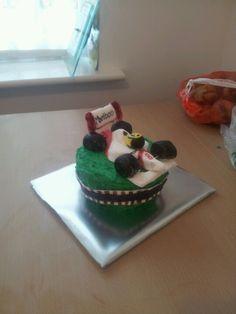 Aryton Senna themed giant cupcake