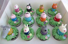 Peppa Pig cupcakes by Caroline Shaw Pig Cupcakes, Cupcake Cakes, Peppa Pig Birthday Cake, Peppa Pig Cupcake, Peppa Pig Cakes, Cumple Peppa Pig, Pig Party, 2nd Birthday Parties, Birthday Ideas