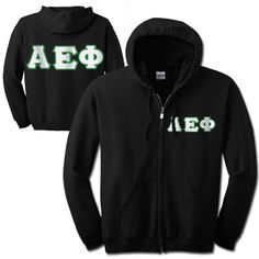 This full-zip Alpha Epsilon Phi hooded sweatshirt comes with 2-inch twill sewn-on Alpha Epsilon Phi Greek symbols on the left chest or you have the choice to put 4-inch twill Alpha Epsilon Phi sewn-on letters on the back of the sweatshirt. This is a UNISEX sized garment.