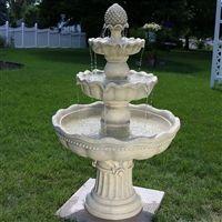 Pineapple top 3 Tier outdoor water fountain garden birdbath.