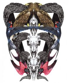 (Mara Hoffman inspiration) skulls & birds    by Sam Thomas