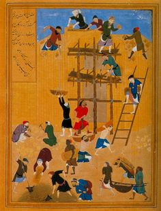 "Persian miniature -The construction of fort Khavarnaq"" by Kamal-ud-din Behzad, Herat c. 1494-1495, Timurid era - Wikipedia, the free encyclopedia"
