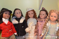 """21"""" Tonner dolls: On the left is Carin from Tonner's Design Studio line (that was sold at FAO Schwarz), and the four on the right are from the Effanbee / Tonner America's Children line (based on molds by Dewees Cochran).   Dollation"""