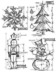 Stampers Anonymous - Tim Holtz - Cling Mounted Rubber Stamp Set - Christmas Blueprint at Scrapbook.com $20.41