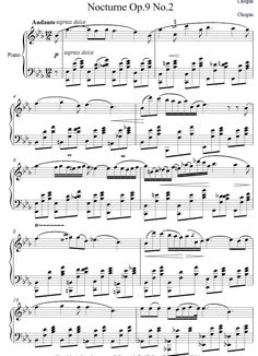 Chopin's Nocturne Op. 9 No. 2 complete sheet music- 8notes.com