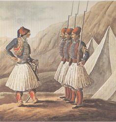 """O Καποδίστριας ιδρύει στα 1829-1830 το λεγόμενο """"Τυπικό Τάγμα"""", ως πρότυπο τάγμα για την εκπαίδευση των Ελλήνων στρατιωτικών και την απορρόφηση των άτακτων τμημάτων. Σε αυτή την υδατογραφία με τίτλο """"Άσκηση του Τυπικού τάγματος στην Πρόνοια"""", 1830 ο Πεϋτιέ απέδωσε πιστά την στολή των στρατιωτών. Greek Independence, Greek Traditional Dress, Greek Warrior, Greek History, Serbian, Athens, Greece, Painting, Places"""