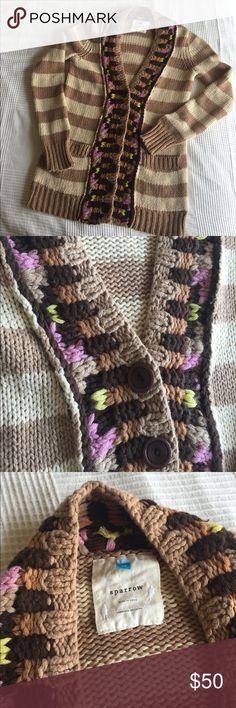 Anthropologie {Sparrow} Cardigan Great used condition! Sz Med. cream and tan stripes with green, purple, and orange knit detail. Soft and cute! Anthropologie Sweaters Cardigans