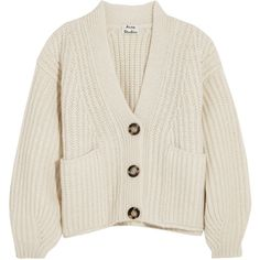 Acne Studios Acne Studios - Hadlee Oversized Wool-blend Cardigan -... (£550) ❤ liked on Polyvore featuring tops, cardigans, acne studios, off white tops, off white cardigan, oversized chunky knit cardigan and over sized cardigan
