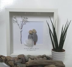 Wedding frame, wedding day gift, Pebble art, Mr and Mrs, beach wedding, framed picture, same sex wedding, wedding day gifts, bride and groom by CoastalPebblesShop on Etsy