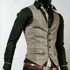 This is a great look for men's business casual in the office space. This look is most ideal for creatives or men located on the West Coast. Vest Outfits, Cool Outfits, Fashion Outfits, Sharp Dressed Man, Well Dressed Men, Gilet Costume, Look Man, Business Casual Men, Moda Fashion