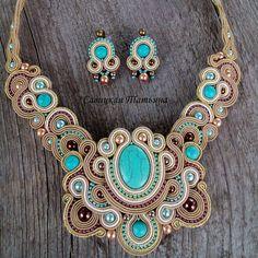 Комплект на заказ. Полетит в Америку.  Комплект стоил 90$. Для заказа напишите мне личное сообщение или обратитесь в комментарии.  Оплатить можно в гривнах, рос. рублях по курсу или долларах. Доставка оплачивается отдельно. Вышлю, куда скажете!) #soutache #necklace #earrings #design #handmade #style #fashion #сутаж #сутажныеукрашения #сутажнаятехника #сутажноеколье #сутажныесерьги