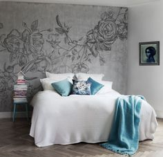 rocky rose mural paper.  Fabulous modern room.  Gray + turquoise, nice combo!