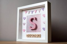 This is a handmade picture which is designed and made by myself in Wales.  The Picture is housed in a 23 cm by 23 cm boxed frame which includes front glass, please note the frame is not handmade.  This picture can be personalised with the following:  Alphabet letter can be hand painted in any colour. A choice of either stars or hearts to be placed on the picture with your colour preference. Dinosaur and bunting is also available in a selection of colours.  Once your order is placed I will…