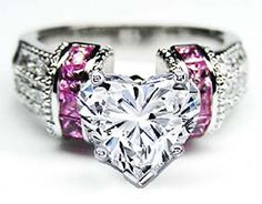 Heart Shape Diamond Engagement Ring Square Pink Sapphire Band