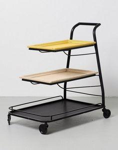 Mathieu Matégot; Painted Steel 'Demon Table' Serving Trolley for Artimeta, 19541.