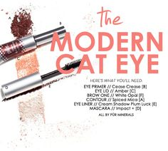 For a modern twist on the classic cat eye, use a fun color like Plum Luck or Smitten Cream Eye Shadow as an eye liner.