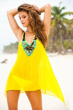 This breathtaking silk tunic is a statement all on its own. There are different styles of beads hand-sewn onto this silk tunic. A beautiful fun & vibrant canary yellow full of life. Push your beach outfit over the top with our hand beaded silk tunic. Sauvage Swimwear, Outfit Strand, Summer Outfits, Cute Outfits, Moda Boho, Silk Tunic, Swimsuit Cover Ups, Models, Mellow Yellow