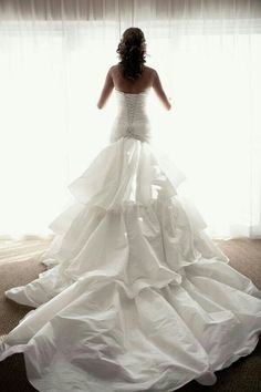 """Another STUNNING """"Looking Out The Window"""" Pose; Love This Bride's Silk Taffeta Wedding Gown With Corset Bodice, &  Chapel+ Length Tiered Train^^^^"""