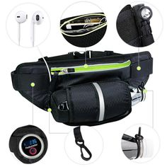 Fanny Pack MYCARBON Waist Pack with Water Bottle Holder Waterproof Running Belt Fits iPhone Plus Galaxy Note 6 Reflective Water Bottle Pack for Running Hiking Travel Activities-Black Tech Gifts For Men, Emergency Bag, Bottle Bag, Water Bottle, Running Belt, Trail Running, Waist Pack, Bottle Holders, Workout Gear