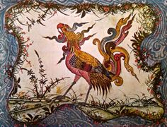 """The Simurgh, found in inacessible islands and near the equator, is fearless beyond all other animals. He can carry off exceedingly large animals like the elephant, and the rhinoceros and when he does, rocks quake and tremble. He builds his nest upon large trees."""
