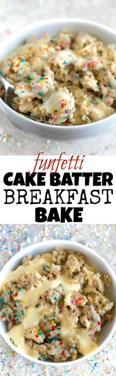 Funfetti Cake Batter Breakfast Bake FUN and DELICIOUS! This healthy Funfetti Cake Batter Breakfast Bake tastes like dessert but is made without any flour, butter, oil, or refined sugar! Recipe via runningwithspoons. Funfetti Kuchen, Funfetti Cake, Batter Recipe, Cake Batter, Healthy Treats, Healthy Desserts, Oreo Desserts, Plated Desserts, Healthy Recipes