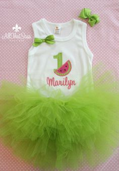 https://www.etsy.com/listing/157175046/watermelon-first-birthday-outfit-set  Watermelon First Birthday Outfit  Set  by AllThatSassBoutique, $45.00