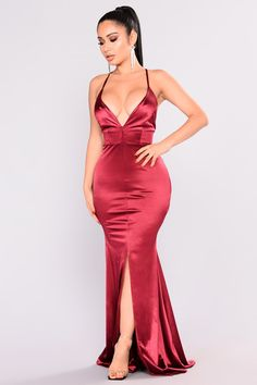 Available In Champagne And Wine Stretch Satin Fabrication Maxi Mermaid Gown Adjustable Criss Cross Straps Slit Front Detail Polyester Spandex Gala Dresses, Prom Dresses Online, Plus Dresses, Satin Dresses, Sexy Dresses, Beautiful Dresses, Evening Dresses, Fashion Dresses, Maxi Gowns