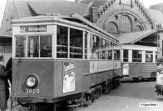 1954 die gute alte Hamburger Strassenbahn,hier am Bahnhof Harburg