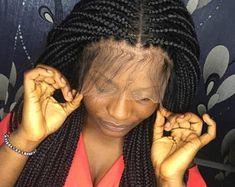Ready to ship,Short Box Braided wig, Frontal box Braided, Medium size box braids Cornrows With Box Braids, Short Box Braids, Box Braid Wig, Braids Wig, Senegalese Braids, Loose Braids, Messy Braids, Braided Hairstyles For Black Women, Braids For Black Women