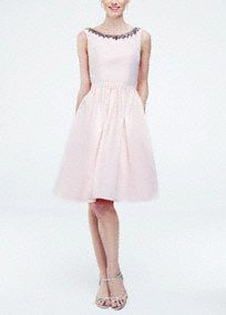 Sleeveless Faille Bridesmaid Dresses with Beaded Neckline, Style F15703 #davidsbridal #vintageweddings #bridesmaiddress
