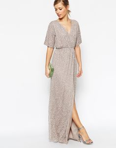 Image 1 of ASOS Sequin Kimono Maxi Dress