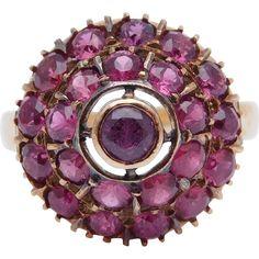 14K Natural Pave Rubies Princess Cluster Ring Estate Fine found at www.rubylane.com @rubylanecom