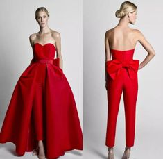 Krikor Jabotian Red Jumpsuits Evening Dresses With Detachable Skirt Sweetheart Prom Gowns Pants for Women Custom Made Big Bow Black White Celebrity Prom Dresses, Sexy Dresses, Formal Dresses, Clearance Prom Dresses, Red Jumpsuit, Party Gowns, Prom Party, Strapless Dress Formal, Dress Prom