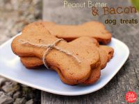 Peanut Butter & Bacon Dog Treats {Gluten-Free} from Tidy Mom. Anything with bacon is good, right?