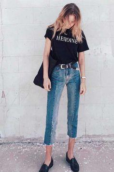 Camiseta preta + Jeans + Mocassim