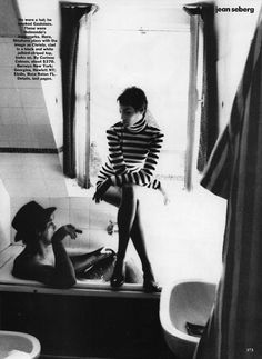 iJean Seberg/i with Christy Turlington, October, 1990 Vogue, Ellen von Unwerth