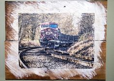 CP Train at Burnaby Lake Wall Hanging, Fine Art Photograph Manually Transferred to Reclaimed Wood, Ready to Hang in Your Home Custom Wall, Decorating Your Home, Just In Case, My Photos, Unique Gifts, Display, Train, Fine Art, Wood