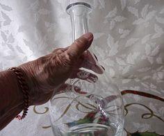 Vintage Glass Decanter Etched Olive Leaf Design 1976